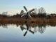 Typical Dutch windmill pumping water, Oude Ijssel, Achterhoek, Gelderland